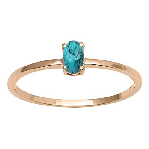 Pequeño anillo! 5x3 mm Oval Turquesa Piedra preciosa 925 Libra esterlina Plata Amarillo Enchapado Apilable Delicado anillo (18)