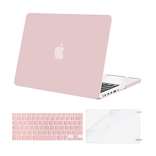 MOSISO Case Only Compatible with MacBook Pro Retina 13 inch (Models: A1502 & A1425) (Older Version Release 2015 - end 2012), Plastic Hard Shell Case & Keyboard Cover & Screen Protector, Rose Quartz