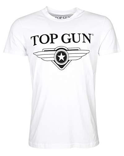 Top Gun Herren T-Shirt Cloudy mit Rundhals- Ausschnitt und typischen Logo-Print (S, Weiß)