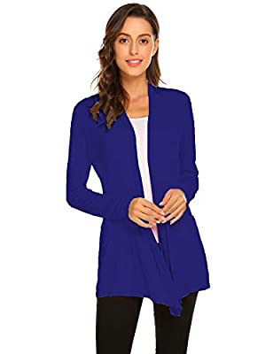 Newchoice Women's Soft Drape Open Front Cardigans Loose Casual Lightweight Long Sleeve Cardigan Sweaters All Seasons (Royal Blue, L) from