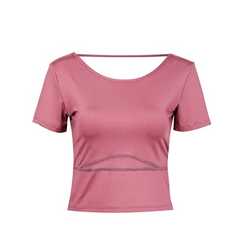 CXWLK Top Yoga Quer Rückenfrei Kurzarm-Shirt Fitness Frau Läuft Docht Feuchtigkeit Turnhalle Sport T Top Mit BH,Pink Rot,S