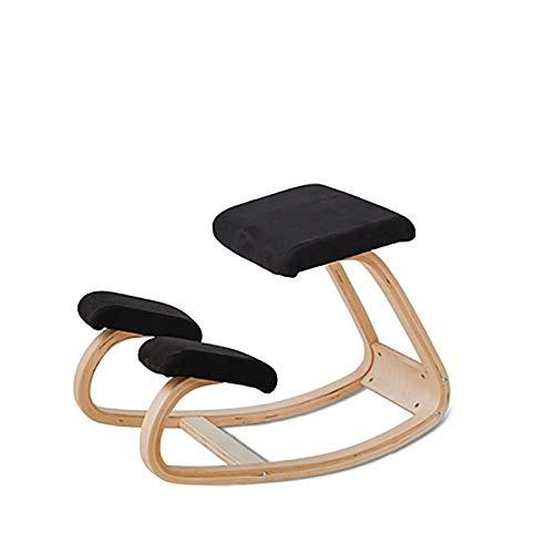 WEIZI Silla ergonómica para arrodillarse - Tela Transpirable - Cojines Gruesos y cómodos de Espuma Moldeada Taburete de Madera para el hogar y la Oficina Negro estándar
