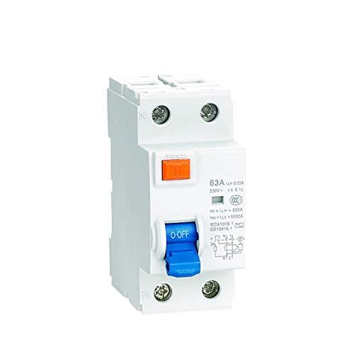 WANGYIYI Protector de Fugas electrónicas Interruptores diferenciales 1P Magnético Corriente de Circuito operado Interruptor de Fugas para el hogar (Rated Current : 25A)