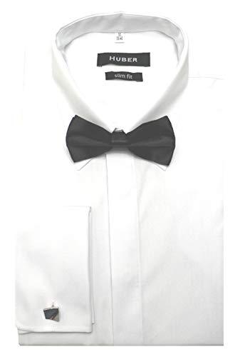 HUBER omslag manchetten hemd wit met Kentkraag incl. Vlieg HU-1361 Slim Fit - smalle hemd Made in EU