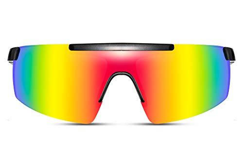 Cheapass solglasögon cykelsport tävling sköld överstorlek stora speglade linser i regnbågsdesign UV400 skyddar män kvinnor