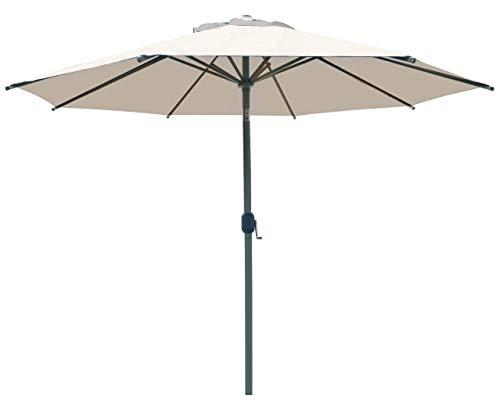 SORARA Palermo Rund Sonnenschirm Parasol | Sandfarben | Ø 3m | Kurbel & Pendel
