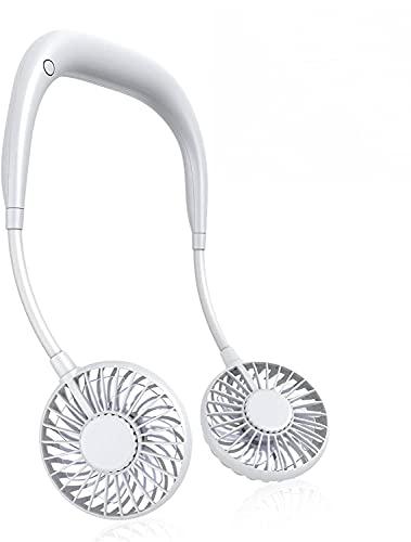 2021 首掛け扇風機 羽根なし 首かけ扇風機 2000mAh 携帯扇風機 USB充電式 3段階調節 静音 熱中症対策(白)