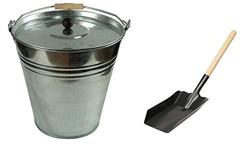 Zinkeimer Ascheeimer mit Deckel, verschiedene Größen (10 Liter mit Schaufel)