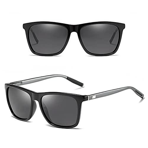 Lubudup Gafas de sol polarizadas unisex con marco de aluminio cuadrado retro, accesorios vintage para hombres y mujeres, gafas de sol para viajes de verano