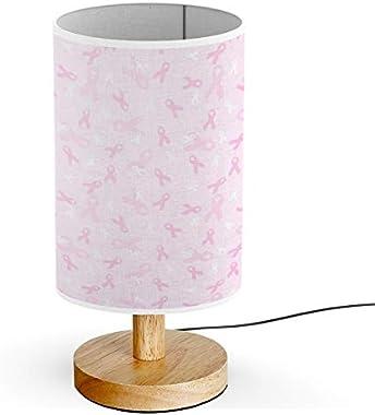 ARTSYLAMP - Wood Base Decoration Desk Table Bedside Light Lamp [ Breast Cancer Awareness Pink Ribbon ]