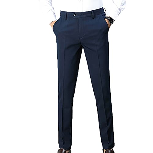 Men's Casual Lounge Dress Pants Soft Button Zip Bottoms Thin Spring Summer Skinny Fit Straight Formal Smart Trousers