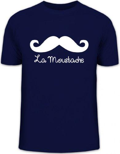 Shirtstreet24, LA Moustache, Mustache Schnurrbart Herren T-Shirt Fun Shirt Funshirt, Größe: XXL,dunkelblau