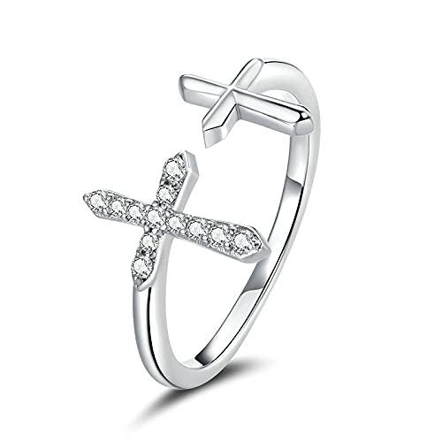 Anillos para mujer Anillo de plata esterlina 925 Shine Cross Anillos de dedo para mujer Anillo abierto Anillo de compromiso Joyería de boda