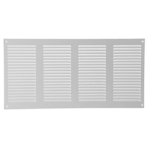 Vent Systems Rejilla de ventilación de metal para rejilla de ventilación de 20,3 x 40,6 cm, color blanco con protector de plagas, cubierta de ventilación de HVAC para mejoras en el hogar, 200 x 400 mm