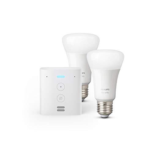 Echo Flex + Lampadine intelligenti a LED Philips Hue White, confezione da 2 lampadine, compatibili con Bluetooth e Zigbee (non è necessario un hub)