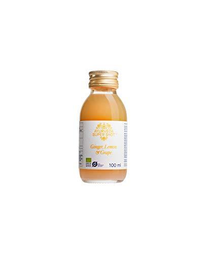 VEEN Ayurveda Super Shot - 15x100ml – Saft-Shot in 100ml Glasflasche - Superfruit-Getränk für Nährstoff-Boost, intensiver Geschmack, 100% pestizidfrei (Ingwer | Zitrone | Traube)