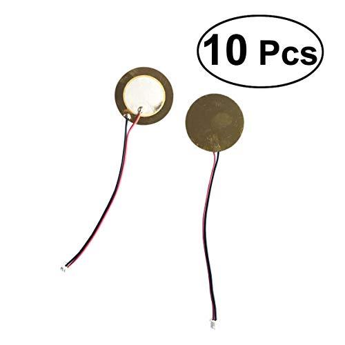 Supvox 10 Stück Piezoscheibe Schallwandler Mikrofon Triggerelement mit Anschlüssen für akustisches Instrument Trommel Gitarre 27mm