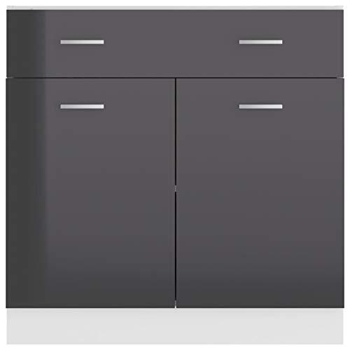 Qnotici Gabinete de Almacenamiento de Cocina de Material de Tablero de partículas, gabinete de Almacenamiento de Cocina de Estilo Moderno práctico para el hogar 80 x 46 x 81,5 cm-Gris Brillante