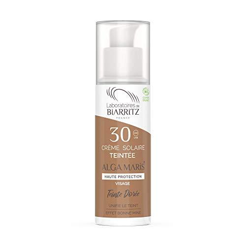 Les Laboratoires de Biarritz - Alga Maris® - Crème solaire visage teintée dorée SPF30 certifiée Bio - 30 ml