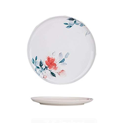 Assiette Céramique Peinte Motif Blanc Plat Ménager 2.3cm Vaisselle À Soupe Bol À Riz Plats À Soupe (Color : Blanc, Size : 19.1 * 1.6cm)