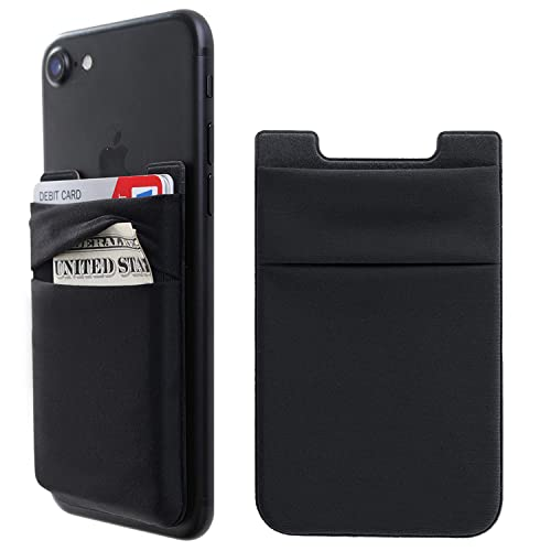 Phone Card Holder Stretchy Lycra Wallet Pocket Credit Card ID Case Pouch Sleeve Adhesive Sticker Compatible with iPhone Samsung Galaxy Android Smartphones - 3Pack Black