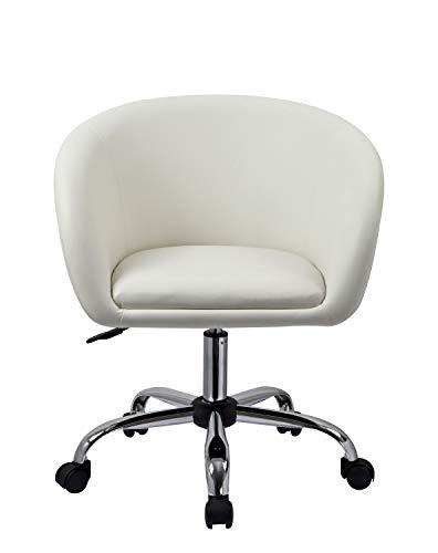 Drehstuhl mit Rollen Weiß Schreibtischstuhl Arbeitshocker aus Kunstleder Hocker Kosmetikhocker Duhome 0542