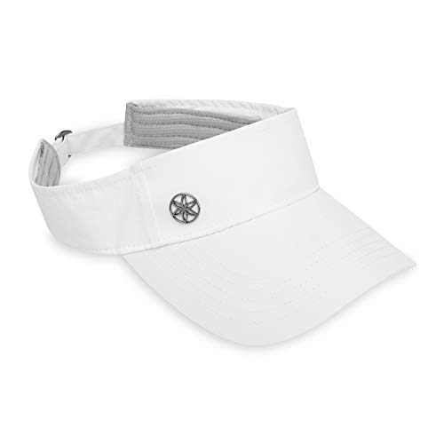 Gaiam Women's Visor Hat - Classic Outdoor Ball Cap, Dry Fit Sweat Headband, Pre-Shaped Bill, Adjustable Size for Running, Baseball, Sun, Hiking, Yoga, Golf, Tennis, Sports & Fitness - White
