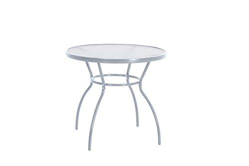 greemotion Table de jardin ronde Prag – Table ronde diamètre 80 cm – Table  verre et métal grise – Petite table ronde de jardin – Table salon de jardin  ...