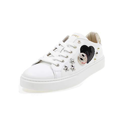 ANDREA MORELLI Zapatos DE Cuero con Cordones Made IN Italy Chica M4A450341 Blanco Tamaño: 36