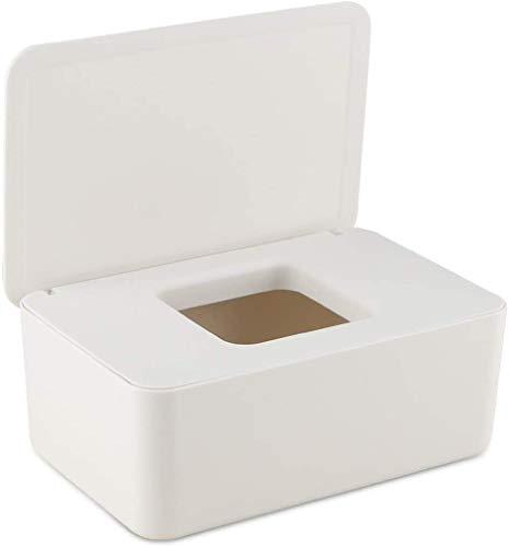 Delisouls Dispensador de toallitas húmedas, papel de seda seco y húmedo, funda protectora sin polvo, caja de almacenamiento con tapa para el hogar (blanco leche)