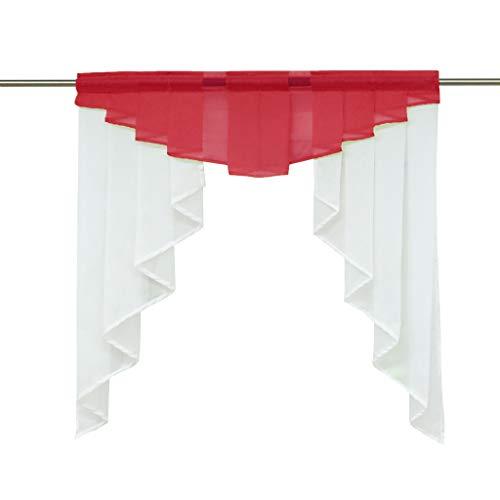 HongYa transparenter Voile Scheibengardine Tunnelzug Kurzstore Küche Kleinfenster Gardine H/B 125/120 cm Rot
