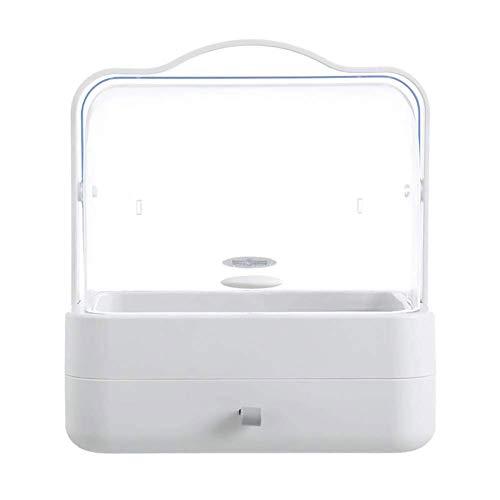 LMM Type boîte de Rangement cosmétique de tiroir de poussière-avec, Organisateur portatif Transparent de cosmétiques, approprié à la Chambre à Coucher, Coiffeuse,Gray