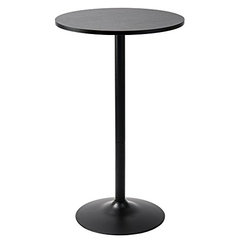 Pearington Long and Small, Single Round Cocktail Bar, Pub, and Bistro High Table with Black Top and Base, 1 Pack,