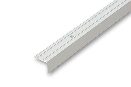(4,74€/m) Treppenwinkel 20 x 25 x 800 mm silber zum schrauben Treppen-Kantenprofil Stufen-Profil Alu-Winkel-Profil Kantenschutzprofil glatt Stufenprofil (800 mm gebohrt, silber)