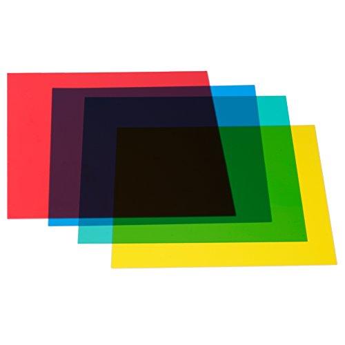 Neewer 30x30 cm Farbfilter Set Gel Farbkorrektur Licht Filter, 4 Stück Plastikfolien:Rot, Gelb, Grün, Blau, Farbfolien für Kamera Speedlite