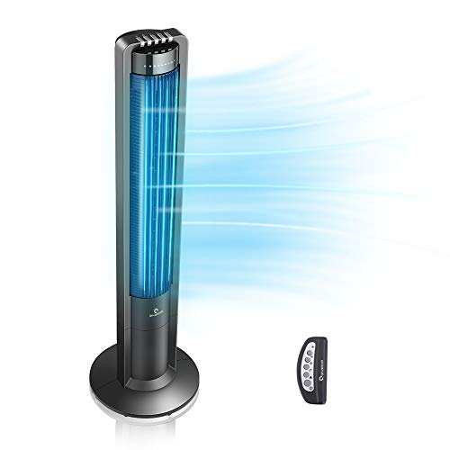 Airvention X01 - Oscillating Tower Fan With Remote, 43 Inch Quiet Air Cooler, Space Saving Stand Fans, For Home, Office or Bedroom, Energy Efficient Cooling, 3 Silent Speeds, Electric Control, Black