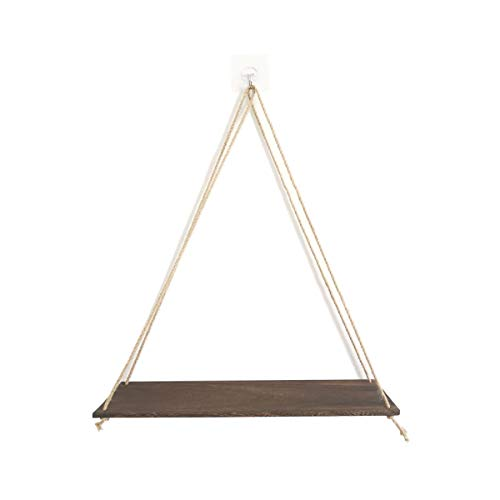 Sinolofty Wooden Hanging Shelf with Rope, Hanging Floating Shelf, Wall Plant Hanger, Wall Decoration, 45 cm
