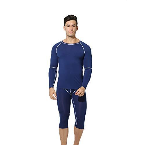 DESMIIT Men's Capri-Pants Modal&Cotton Warm Underwear Long Johns T-Shirts 2pc Set Blue Chinese M