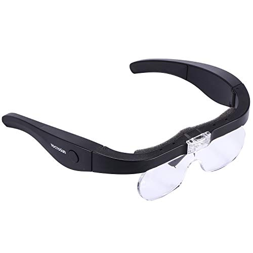 magnification glasses YOCTOSUN Rechargeable Magnifying Glasses, Head Magnifier Glasses with 2 LED Lights and Detachable Lenses 1.5X, 2.5X, 3.5X,5X, Best Eyeglasses Magnifier for Reading and Hobby