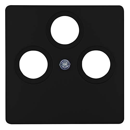 Kopp Paris Abdeckung für 3-Fach Antennen-Steckdose TV/RF/SAT, Mattschwarz, 335050189