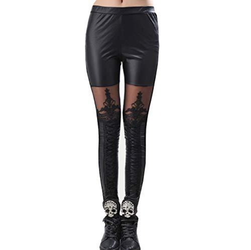 Inception Pro Infinite Leggings Mujer - Cuero de imitación - Decorado - Encaje - Cordones - Negro - Oscuro - Gótico - Talla única - Idea de Regalo -