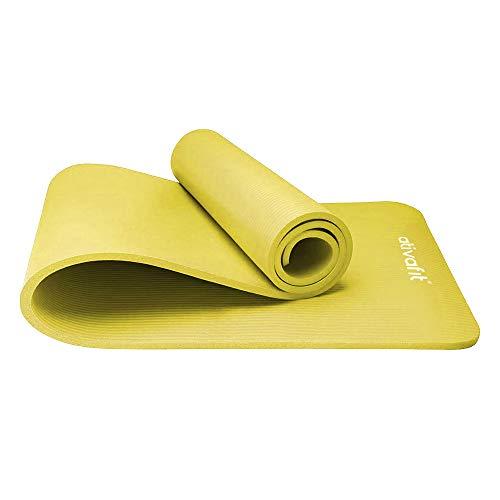 ATIVAFIT Phthalatfreie Yogamatte - rutschfest und gelenkschonend Sportmatte für Yoga Pilates Sport Fitnessmatte Gymnastikmatte mit Tragegurt Pilatesmatte 183 * 61 * 1 cm Trainingsmatte (Gelb)