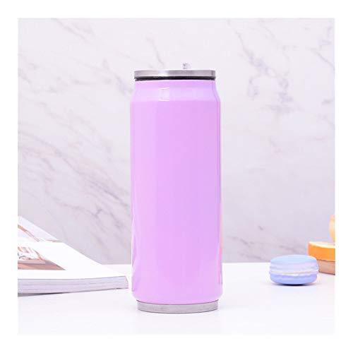 Cup Utensilien Flaschen-Vakuumflasche Straw Kaffee Thermal Thermosflaschen Dosen Cup Thermobecher Tasse Der 350/500 ml Edelstahl-Thermobecher (Capacity : 350ml, Color : Purple)