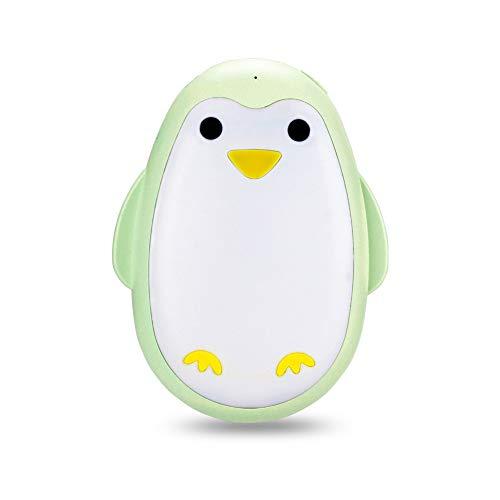 HGA Calentadores Manos Carga USB Recargable Calentador Manos Pareja Pingüino Lindo Bebé Caliente Mini Banco Energía Portátil,Green