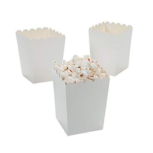 Fun Express Mini White Popcorn Boxes - Popcorn Containers - 24 Pack of Paper Popcorn Boxes for Party