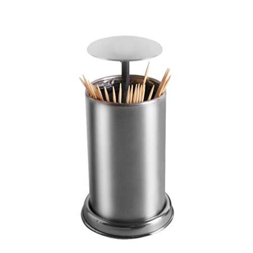 UPKOCH Edelstahl-Automatischer Zahnstocherhalter rund Ständer Box Spender Push Style Container für Zuhause Hotel Restaurant