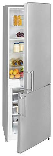 Exquisit Frigorífico y congelador KGC 265/70-1 A+++ Inoxlook | dispositivo de pie | 264 L de capacidad neta, aspecto de acero inoxidable