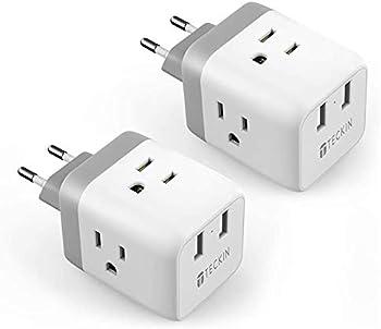 2-Pack Teckin International Plug Adapter with 2 USB