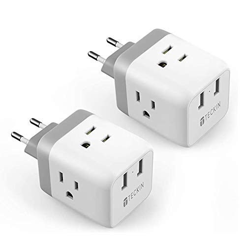 European Travel Plug Adapter 2 Pack TECKIN International Travel Power Converter for Europe, Outlet Adaptor with 2 USB, US to EU Germany, Spain, France, Italy, Denmark, Iceland (Type C)
