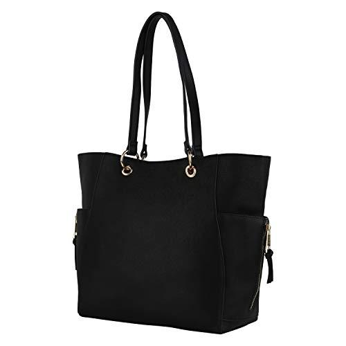CARPISA Damen Handtaschen Henkel-Taschen Shopper Zipper Lederoptik Einkaufstaschen Reißverschlussfach Innen Außen Handyfach 198430 Schwarz